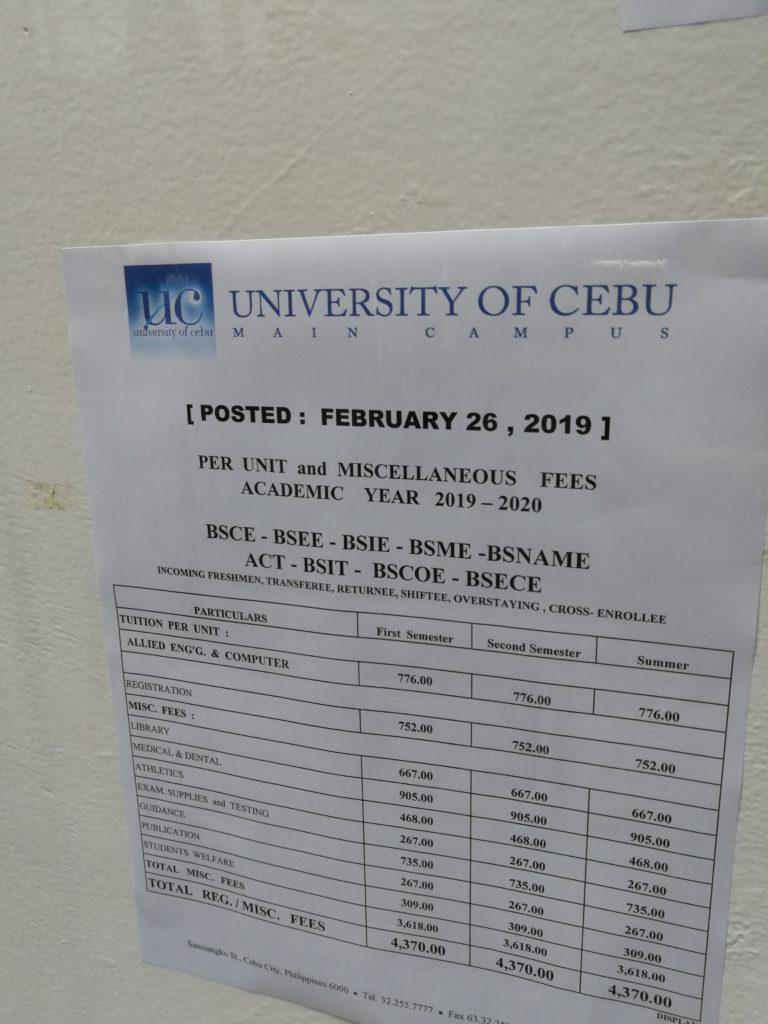 セブ大学(University of Cebu)のコスト