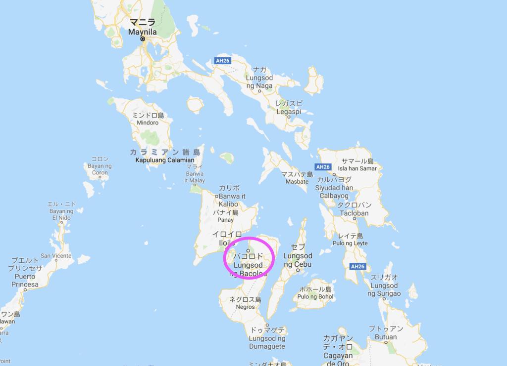 フィリピンの地図:バコロドの位置
